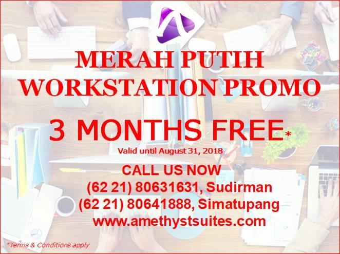 August 2018 Amethyst Jakarta Workstation 3 Months Free Promotion
