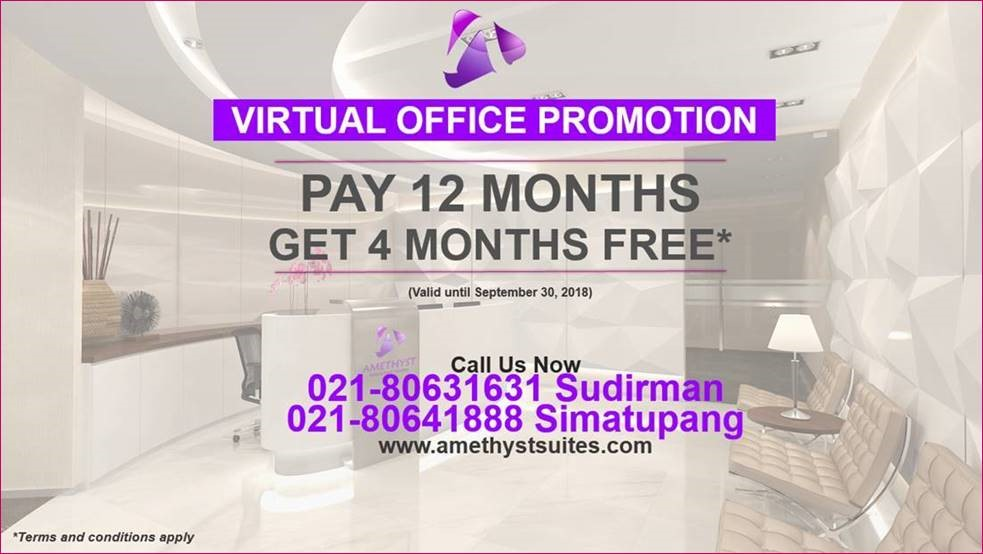 SEPTEMBER 2018 VIRTUAL OFFICE PROMOTION PAY 12 MONTHS GET 4 MONTHS FREE