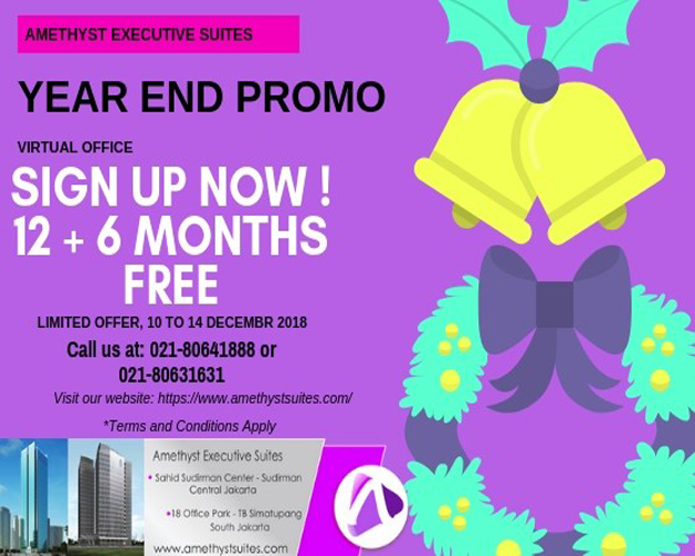 December 2018 Amethyst Jakarta – Virtual Office Year End Promotion (Promo)